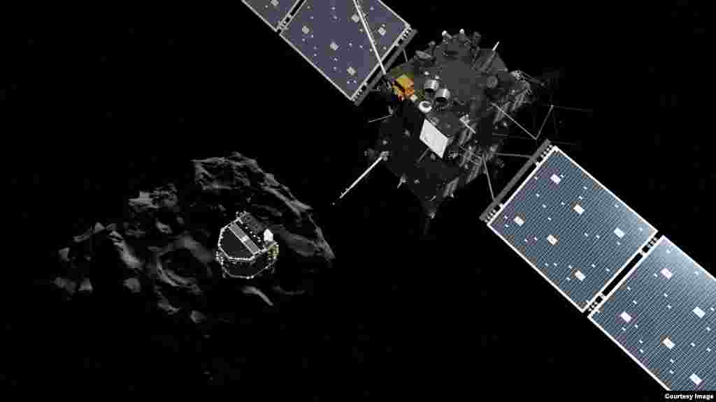 Artist impression showing Philae separating from Rosetta and descending to the surface of comet 67P/Churyumov-Gerasimenko. (Courtesy: European Space Agency)