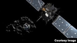 탐사로봇 '필레'가 혜성 표면에 착륙하는 가상 사진. 유럽우주국 제공.