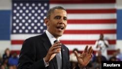 美國總統奧巴馬上個月在俄亥俄州的一次競選演講中