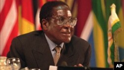 FILE: Zimbabwean President Robert Mugabe speaks during the opening ceremony of the Organization of African Unity summit in Harare,Zimbabwe, on Monday, June 2,1997.