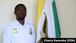 Le candidat président Frank Habineza en campagne électorale à Kigali, Rwanda, le 3 août 2017. (VOA/Charly Kasereka)