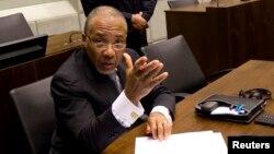 Charles Taylor lors de son procès devant le Tribunal spécial pour la Sierra Leone à Leidschendam, le 8 février 2011.