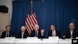 U.S. Senator Patrick Leahy of Vermont, center, speaks during a press conference alongside Senator Tom Udall of New Mexico, second from right, Senator Thad Cochran of Minnesota, second from left, Senator Michael Bennet of Colorado, far left and U.S. Congressman Jim McGovern of Massachusetts, far right, at the U.S. embassy in Havana, Cuba, Feb. 22, 2017.
