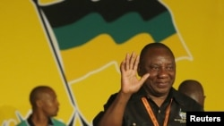 Cyril Ramaphosa celebrates his election as party Deputy President at the National Conference of the ruling African National Congress in Bloemfontein, South Africa, December 18, 2012.