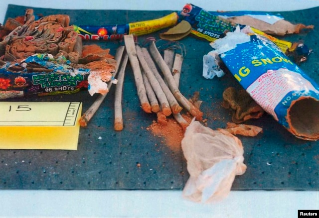 Fireworks found inside a backpack belonging to Dzhokhar Tsarnaev are seen in a handout photo released by the FBI, May 2, 2013.