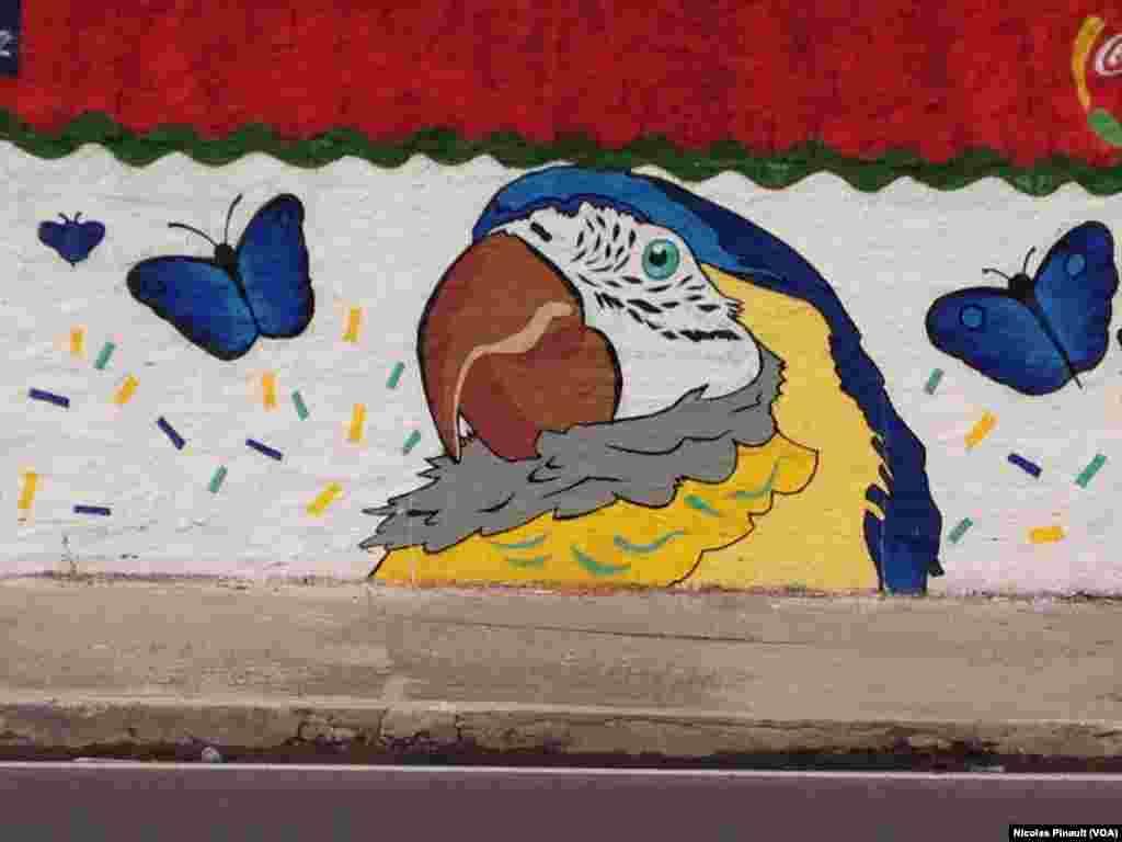 Peinture murale à l'Arena da Amazonia, le nouveau stade construit pour la Coupe du monde 2014 à Manaus