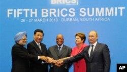 2013年3月,印度、中国、俄罗斯、巴西和南非在南非举行金砖五国峰会。(资料照片)