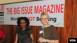 Local trainer Cheu Mita (left) and Mary Tuchscherer coaching women magazine vendors in Blantyre. (Photo Courtesy M. Tuchscherer)