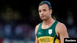 South Africa's Oscar Pistorius is seen after a race in London, September 5, 2012.