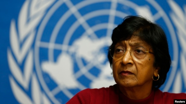 U.N. High Commissioner for Human Rights Navi Pillay attends a news conference at the United Nations European headquarters in Geneva, Dec. 2, 2013.