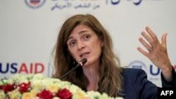 (FILE) USAID Administrator Samantha Power