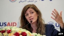 Samantha Power, Maotambwisi Agence américaine ya molongo mpo na ntombw (USAID), na Khartoum, Soudan.3 août 2021. (Photo by ASHRAF SHAZLY / AFP)