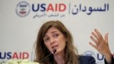 Samantha Power, Administrator of the United States Agency for International Development (USAID), speaks at a hotel in Sudan's capital Khartoum on August 3, 2021.