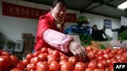 資料照:北京一個市場上出售的西紅柿