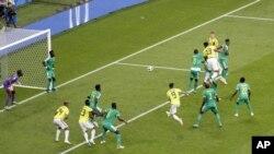 Yerry Mina aifungia Colombia goli la ushindi dhidi ya Senegal.