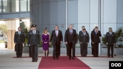 Secretary of Defense Ash Carter observes an honor guard with Israeli Defense Minister Avigdor Lieberman in Tel Aviv, Israel, Dec. 12, 2016. (DOD photo by U.S. Air Force Tech. Sgt. Brigitte N. Brantley)