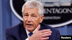 Menhan AS Chuck Hagel mengumumkan rencana perumahan PNS di Pentagon hari Selasa (14/5).