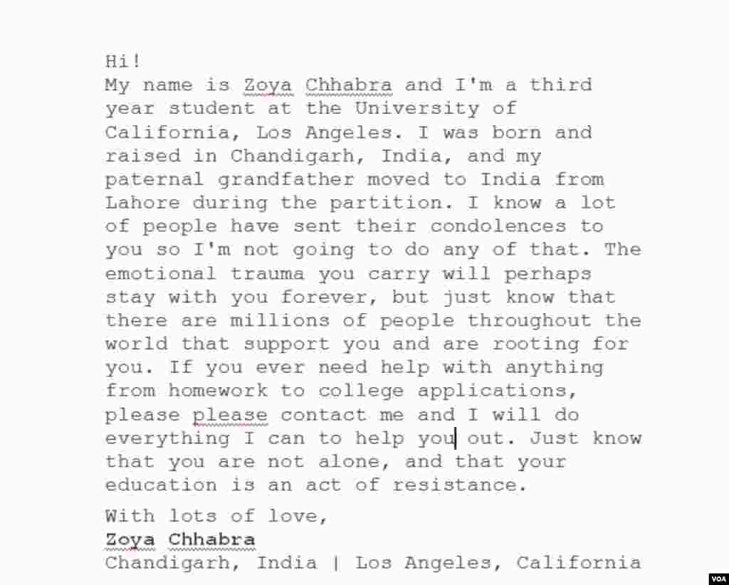 کیلیفورنیا سے بھارتی طالبہ زویا کا ایک تحریری پیغام