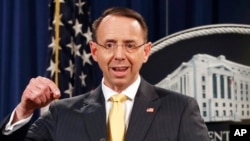 Deputy Attorney General Rod Rosenstein announces that a grand jury has charged 13 Russian nationals and several Russian entities. (Feb. 16, 2018.)