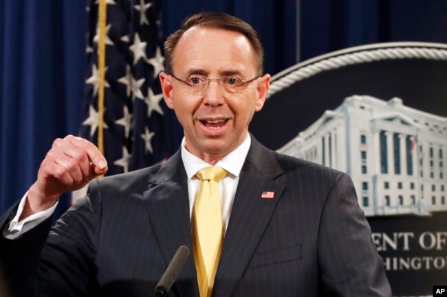 Deputy Attorney General Rod Rosenstein announces that a grand jury has charged 13 Russian nationals and several Russian entities, Feb. 16, 2018, in Washington.