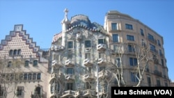 The facade of Casa Batllo, one of seven works by Catalonian architect Antoni Gaudi, has an organic skeletal quality leading locals to refer to it as the House of Bones, in Barcelona.