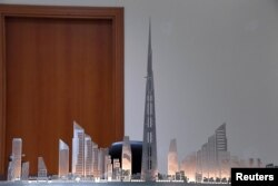 Model Jeddah Tower di kantor Jeddah Economic Company, di Jeddah, Arab Saudi, 6 Februari 2018.