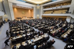 FILE - A general view at the opening of the World Health Assembly, with some 3,000 delegates from its 194 member states in Geneva, Switzerland, May 23, 2016.