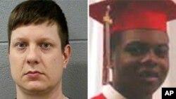 Jason Van Dyke, policier de Chicago, à gauche, et le jeune adolescent noir Laquan McDonald.