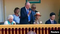 Cựu quốc vương Tây Ban Nha Juan Carlos xem đấu bò ở Aranjuez vào ngày 2/6/2019.
