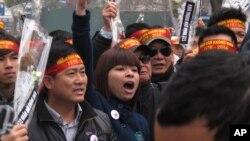2014年2月16日越南出現反華遊行 紀念中越邊界戰爭35周年。
