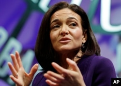 FILE - Facebook Chief Operating Officer Sheryl Sandberg speaks during a forum in San Francisco, Nov. 3, 2015.