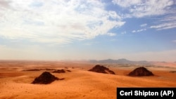 This undated photo provided by the Palaeodeserts Project in September 2021 shows the Jubbah Oasis in northern Saudi Arabia. (Ceri Shipton/Palaeodeserts Project via AP)