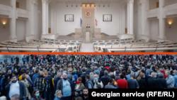 Акция протеста оппозиции по итогам первого тура выборов в грузинский парламент. Тбилиси