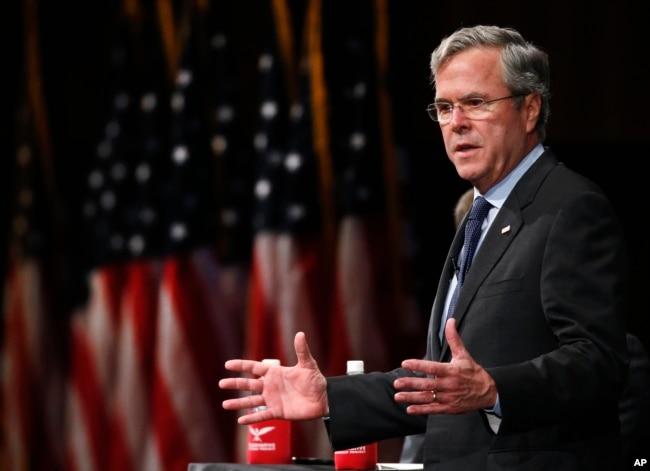 FILE - Former Florida Gov. Jeb Bush speaks during a Faith and Family Presidential Forum at Bob Jones University in Greenville, S.C., Feb. 12, 2016.