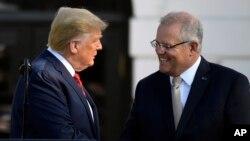 Presidente Trump e o primeiro ministro australiano Scott Morrison