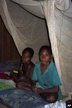 Two boys sit under a net in Patigo, Papua New Guinea in this file photo. While indoor spraying and insecticide treated bed nets have been important tools for malaria control, mosquitos are becoming resistant to such measures.