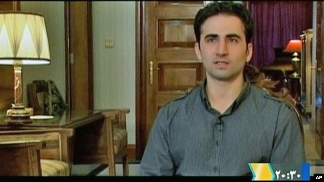 Iranian-American Amir Mirza Hekmati, who has been sentenced to death by Iran's Revolutionary Court on the charge of spying for the CIA, speaks during a recorded interview in an undisclosed location, in this undated still image taken from video by Reuters