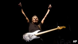 FILE - Roger Waters, formerly of the English rock band Pink Floyd, performs March 29, 2012, in Rio de Janeiro, Brazil. Waters, Paul McCartney, The Rolling Stones, Neil Young, The Who and Bob Dylan will perform at Desert Trip, which kicks off Friday.