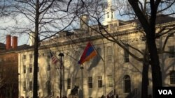 Harvard University with Armenian flag