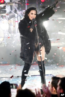 Demi Lovato performs at the Times Square New Year's Eve celebration on Thursday, Dec. 31, 2015.