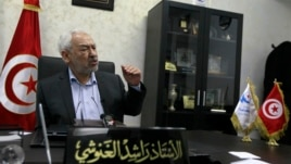 Rached Ghannouchi, head of Tunisia's Ennahda movement, speaks during an interview with Reuters in Tunis, Tunisia, Feb. 12, 2013.