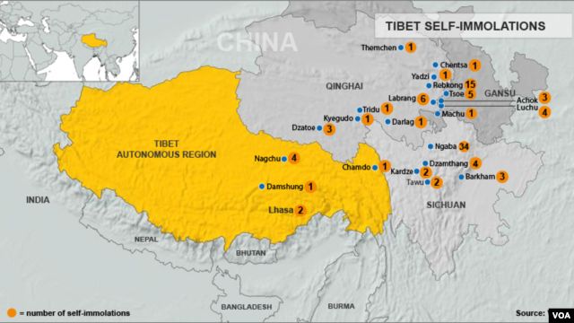 Tibetan self-immolations through December 10, 2012.