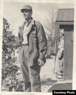 "Former VOA Correspondent Irwin ""Sonny"" Fox at Panmunjom, Korea, June, 1953, on the border of North and South Korea and where is now deserted and in the DMZ. (Courtesy: Sonny Fox)"