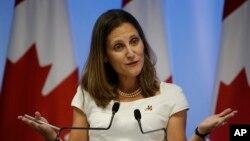 La ministra de Relaciones Exteriores de Canadá, Chrystia Freeland, dijo que su país está determinado a proteger los derechos humanos y combatir la corrupción en todo el mundo.