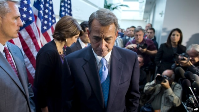 House Speaker John Boehner, R-Ohio, walks away from the microphone during a news conference after a House GOP meeting, Capitol Hill, Washington, Oct. 15, 2013.