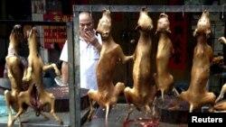 Một người bán thịt chó tại Lễ hội Thịt Chó Ngọc Lâm hàng năm ở Trung Quốc.
