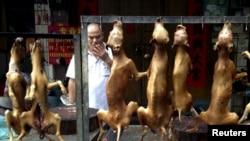 广西玉林狗肉节上的摊贩在出售熏狗肉。( 2015年6月22日)