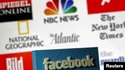 Logo 3 Dimensi Facebook di depan logo berbagai perusahaan media, dalam foto ilustrasi di Zenica, Bosnia dan Herzegovina, 15 Mei 2015. (Foto:dok)