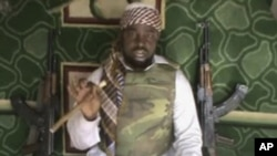 Undated file image taken from video posted by Boko Haram sympathizers, which shows Imam Abubakar Shekau, purported leader of the radical Islamist sect, made available Jan. 10, 2012.