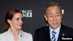 Aktris Emma Watson dan Sekretaris Jenderal PBB, Ban Ki-moon.